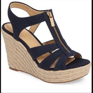Michael Kors Damita Wedge Navy Canvas Zip Heel